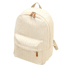 2015 New Fashion Backpack Women Canvas White Lace Student Shoulder Children Black School Bag Travel Sports Kids Backpack Bags(China (Mainland))
