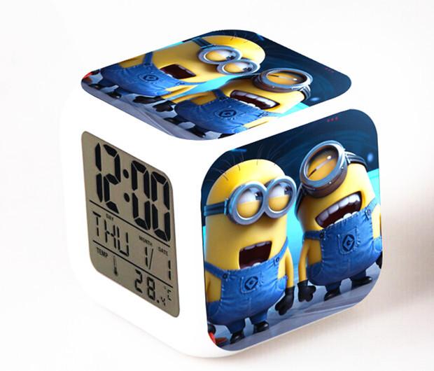 Hot Sales 1 Piece Cute Minion Digital Alarm Clock Color Changing LED Clock Kids Cartoon Clock(China (Mainland))