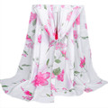 Ladies Lover Flower Rose Chiffon Scarf Infinity Scarves Women Shawl Beach Towel Female Oblong Summer Scarf