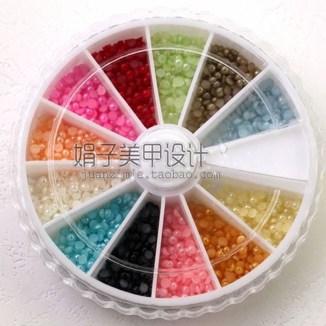 2mm 1200 nail art pearl diamond box revitalizing 12 jelly color diy finger zp07