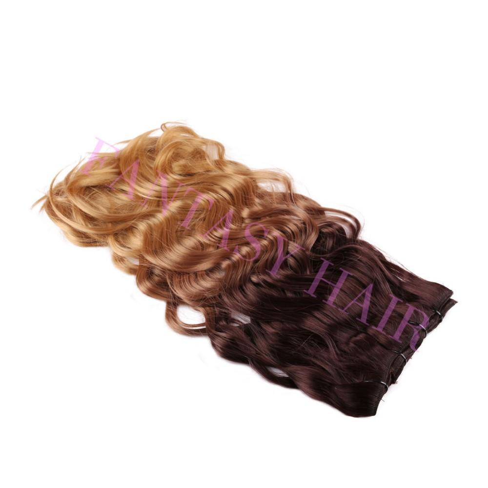 8 pcs a lot brown blonde ombre weave Brazilian body wavy full head clip in synthetic hair extensions heat resistant no shedding-6