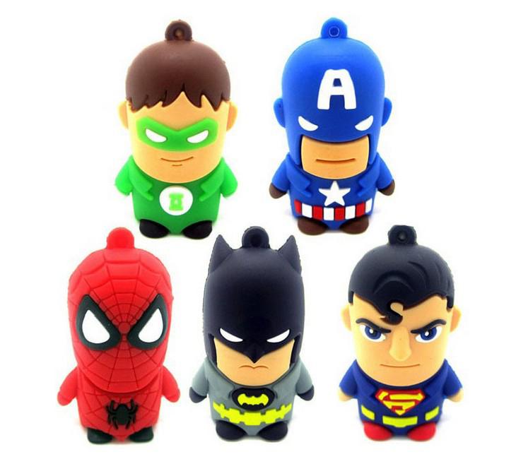 Free shipping! Retail wholesale 4GB-32GB Superman Spiderman Batman Captain America USB Flash Drive pen drive memory stick(China (Mainland))