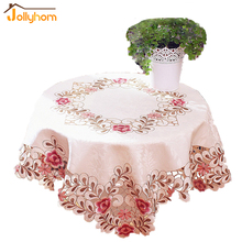 Popular Hollow-out Embroidery Table Cover for Round Table Handmade Cutwork Square Round Tablecloth for Home Hotel Banquet (1pc)(China (Mainland))