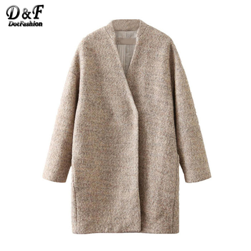 New 2015 Autumn/Winter Fashion Women's Designer Female Coat Casual Long Sleeve Woolen Mid-Long Coats Outerwear(China (Mainland))