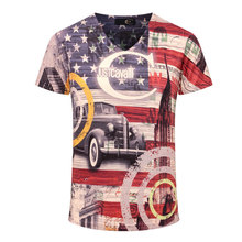 2016 New Arrival 3D T Shirt Men Summer Fashion American Flag Printed Men Slim Fit V Neck T Shirt Brand Men Cotton Funny T Shirts