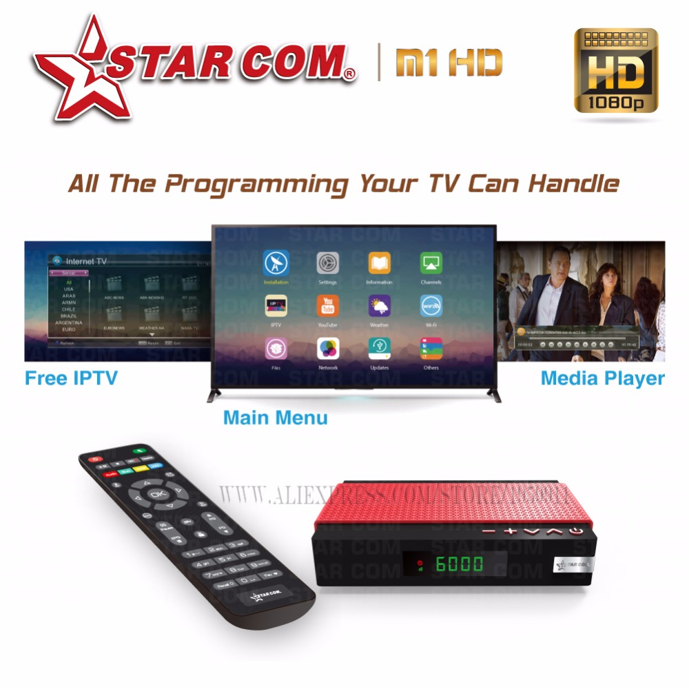 STARCOM New Edition Satellite TV Receiver Wiht IPTV DVB-S2 TV BOX Full HD Hybrid New Mini Receiver YouTube WiFi Included(China (Mainland))