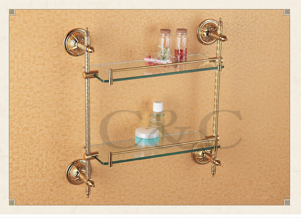 Noble And Elegant Solid Brass And Glass Gold Plating Bathroom Double Towel Rack Holder 1214 In