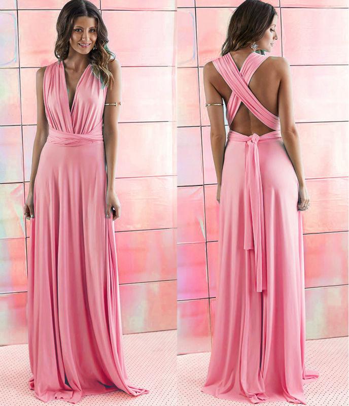2018 Wholesale 2016 Summer Sexy Women Peach Infinity Maxi Wrap Dress ...