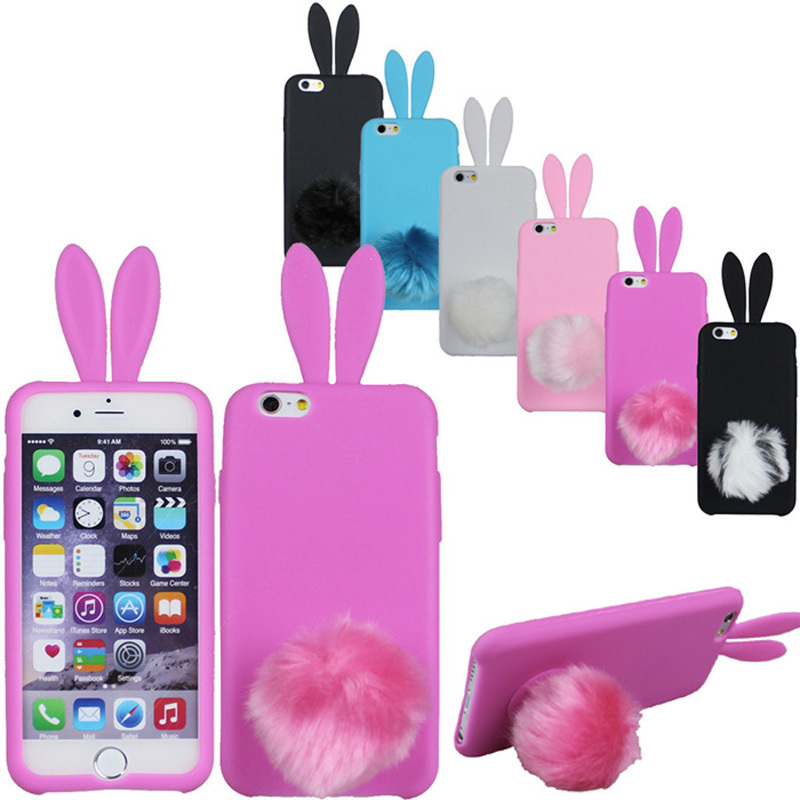 New For iPhone 6 4.7/ 6Plus 5.5 inch Cartoon Silicone Lovely Phone Case tail hair bulb Stand Holder Bunny Rabbit Ear Cover SJ211(China (Mainland))