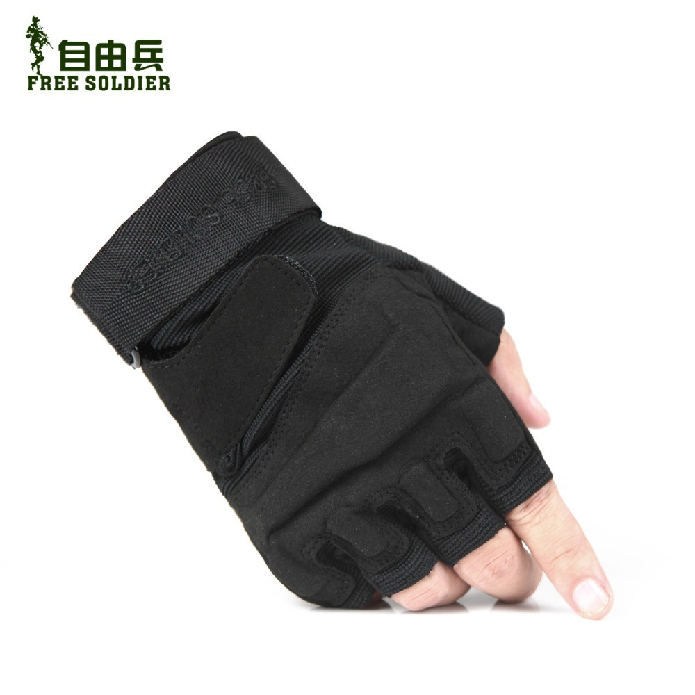 Гаджет  Free shipping 2013 free soldier Outdoor gloves hiking cut-resistant gloves black hawk tactical gloves semi-finger male gloves None Спорт и развлечения