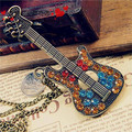 Free shipping retro vintage jewelry with rhineston guitar pick necklace