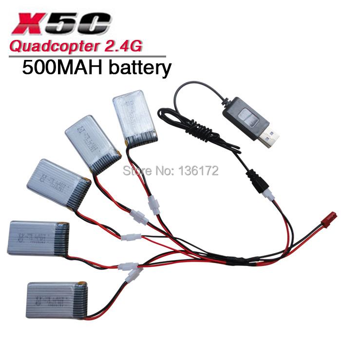 SYMA X5C X5 X5A rc quadcopter spare parts set syma x5c Li-po battery 3.7V 20C 500mah +USB cable charger free shipping(China (Mainland))