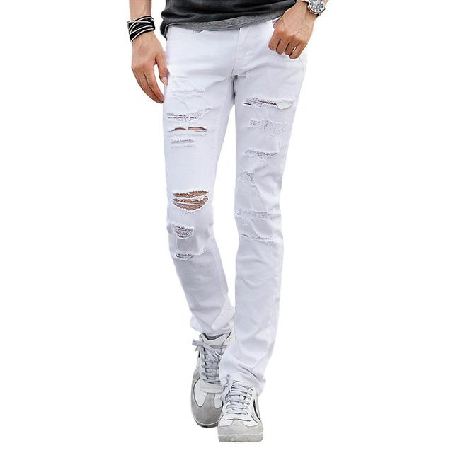 2016 узкие джинсы мужчины дизайнер уменьшают подходящую джинсы белый рваные джинсы ...