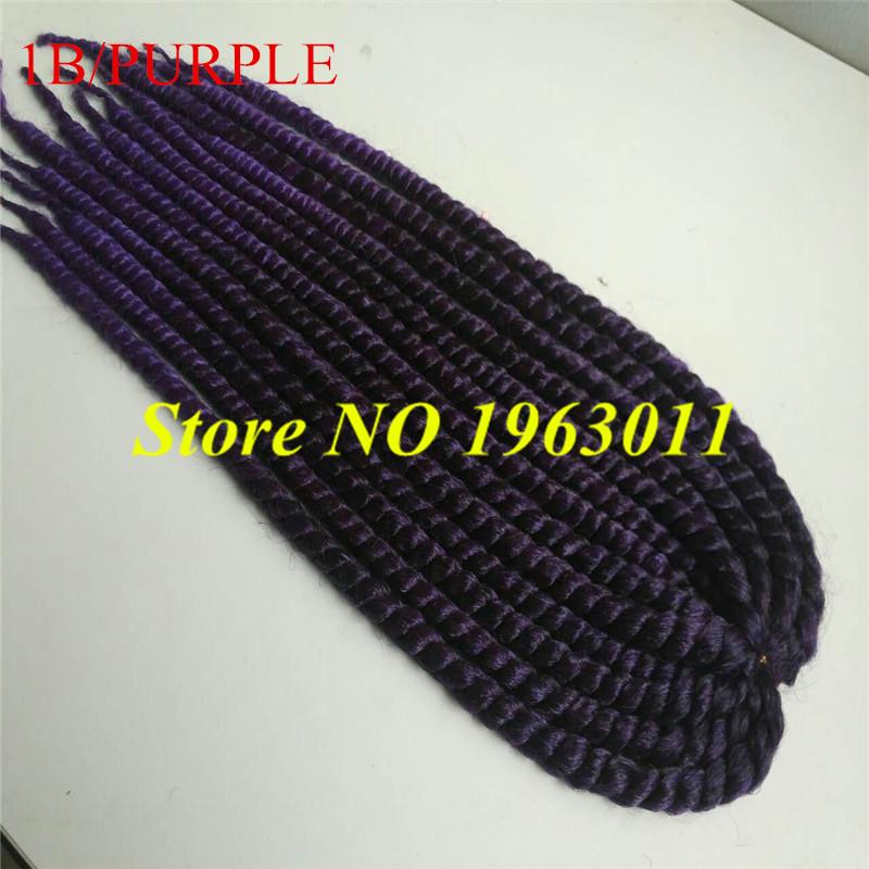 "(2packs) 22"" expression synthetic crochet braids havana mambo twist hair ombre purple crochet twist braiding hair(China (Mainland))"