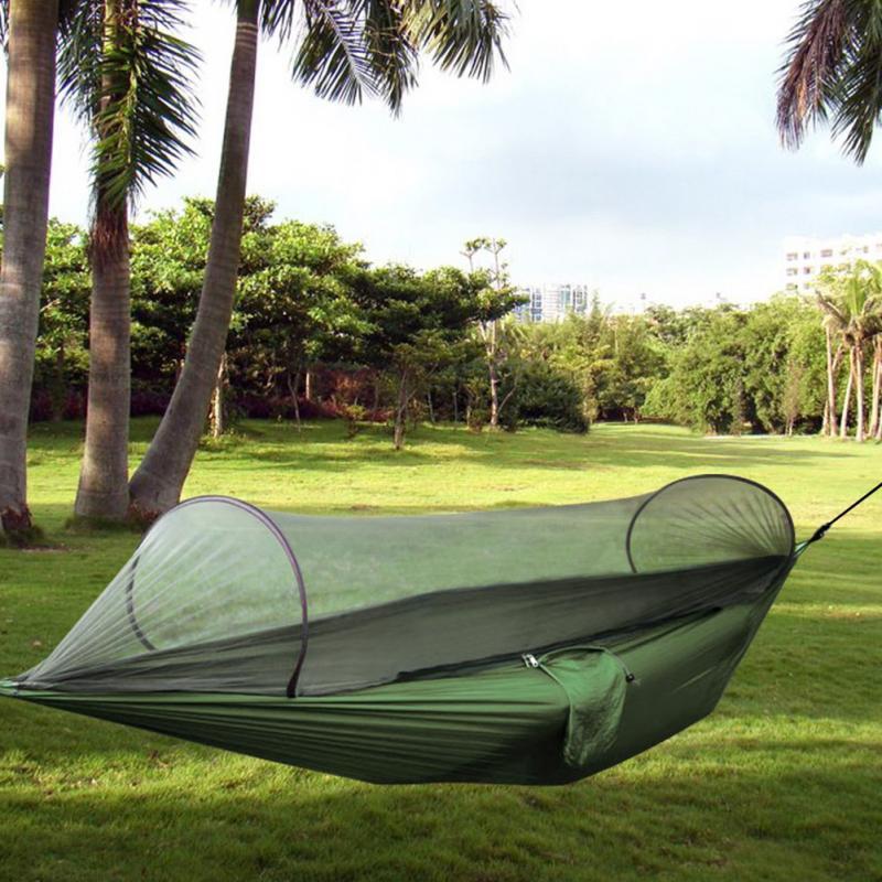 Outdoor Parachute Cloth Fabric Hammock Portable Camping Hammock With Mosquito Nets Single Person Hammock Swing(China (Mainland))