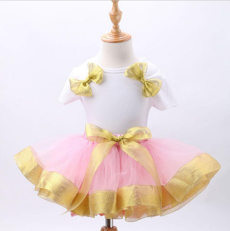2016 Children Dresses Baby Girl Clothing Set White T-shirts With Gold Bow+Tutu Mesh Skirts Kids Outfit Girls Party Vestidos<br><br>Aliexpress