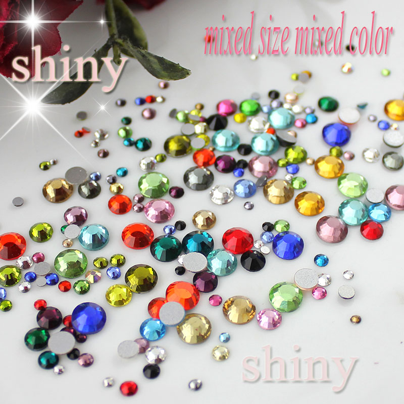 Mixed Size&Colors 10g/Bag Nail Art Rhinestone SS6-SS30 Glass Flatback Non Hot Fix Rhinestones Glue On For Nails decorations(China (Mainland))