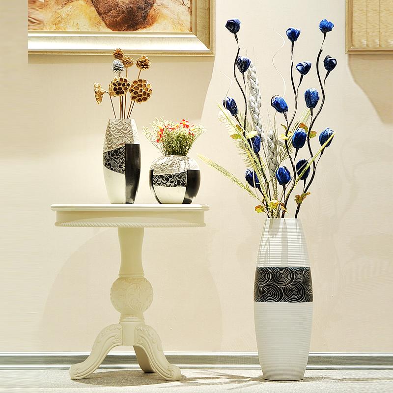Ceramic Modern Brief Fashion Large Floor Vase Black And