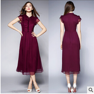 summer 2015 the new women fashion boutique high-end collar slim long silk dress with short sleeves Good quality AEO85(China (Mainland))