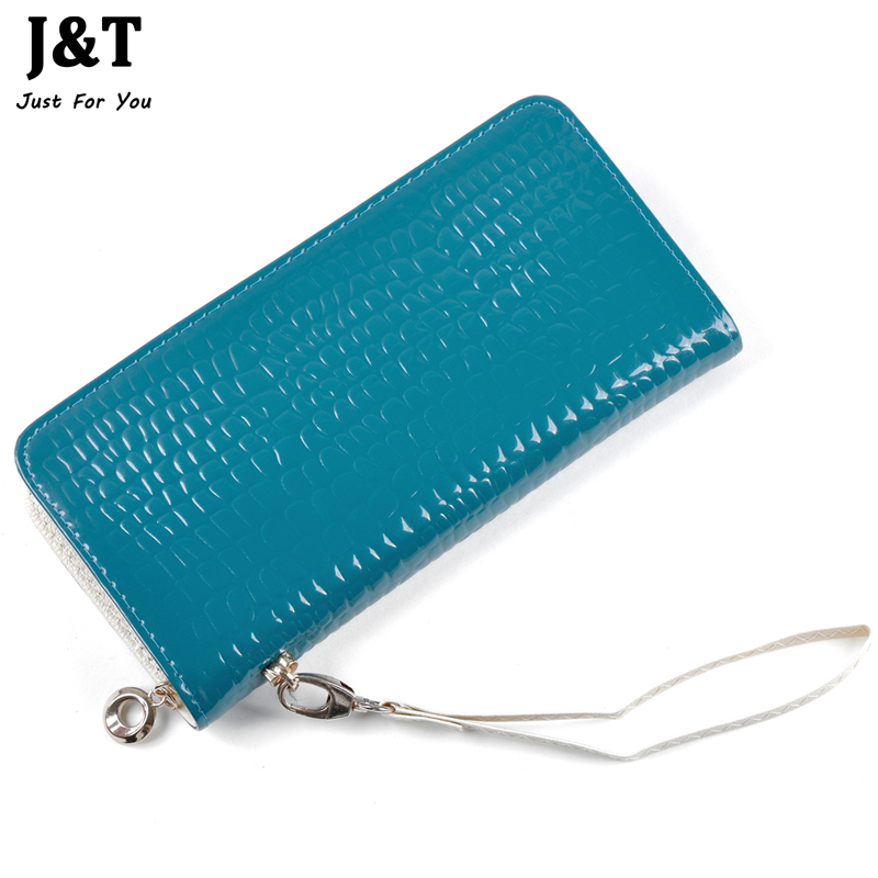 2016 New Arrival Hot Sale Patent Recycled Leather Wallet Purse Day Clutches Wallets Women Zipper Lady Women's Fashion Wallet Bag(China (Mainland))