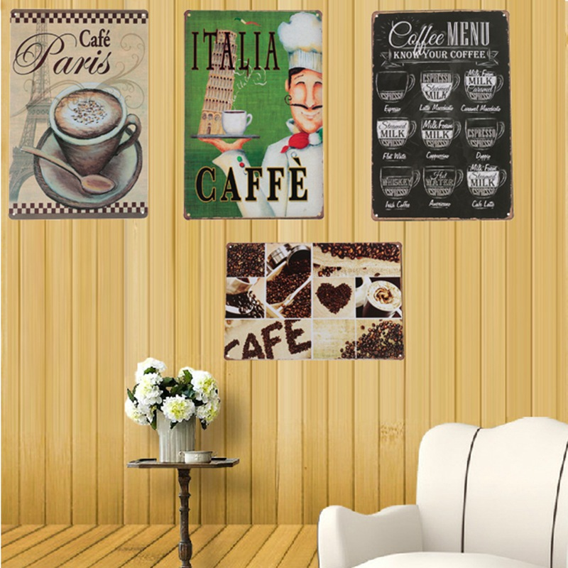 Best Price Coffee Menu Vintage Tin Sign Coffee Pub Club Poster Wall Decor Plate Bar Home Wall Decor Retro Metal ART