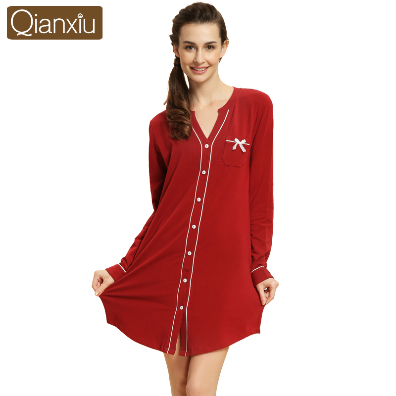 2015 autumn brand sleepshirts women 39 s cotton button Long cotton sleep shirts