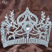 Large Tiaras Handmade Crowns Clear Rhinestones Crystal Handmade Diadem Beauty Pageant Party Wedding Bridal Headband Headpiece(China (Mainland))