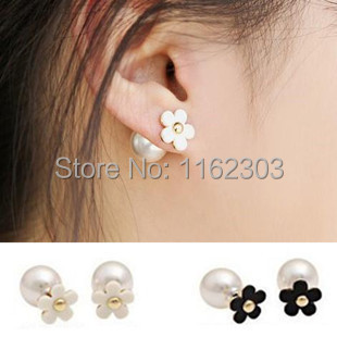 (Mix minimum order $5)women's day gifts/South Korea act the role ofing is tasted the Daisy pearl and white flowers/stud earrings(China (Mainland))