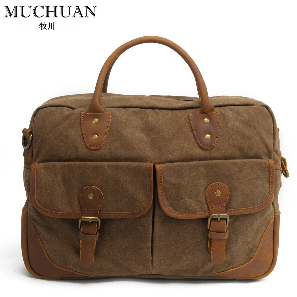 Match Genuine Leather Cross Section Briefcase Men And Fashion Personality Business Affairs Package Canvas Notebook Computer 15(China (Mainland))