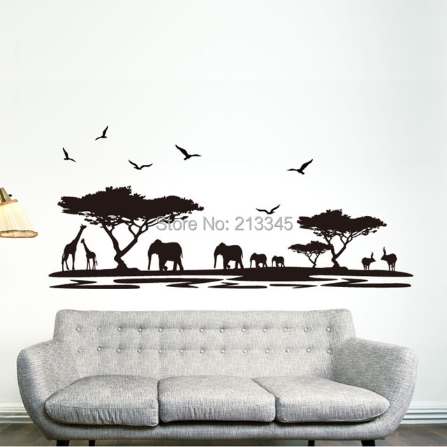 Saturday monopoly diy wall sticker home decor safari elephant animal decals quotes living room - Elephant decor for living room ...