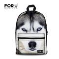 3D Animals Printing Backpack Women Canvas Dog Backpacks Children White Wolf Kids Husky School Bags for