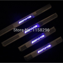 stainless steel LED scuff plate door sill covers for Mercedes AMG W210 W202 W219 W211 E and C-class car styling auto accessories(China (Mainland))