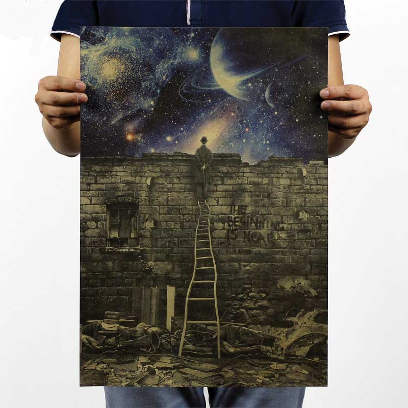 DCTOP The Man Stand On A Stair Watch The World Poster Wall Decals ticker Kraft Paper Retro Poster Wall Decorative S(China (Mainland))