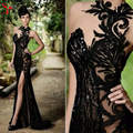 Elegant Beaded Stunning Black Lace Emboridery Formal Long Evening Dresses Mermaid Sexy Split Side Party Prom