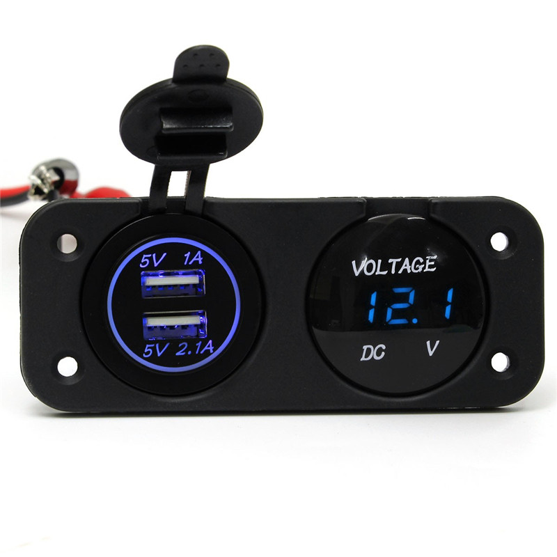 The Best Quality DC12-24V Waterproof Car Charger Dual USB Port + LED Digital Display Voltmeter Hot Sale(China (Mainland))