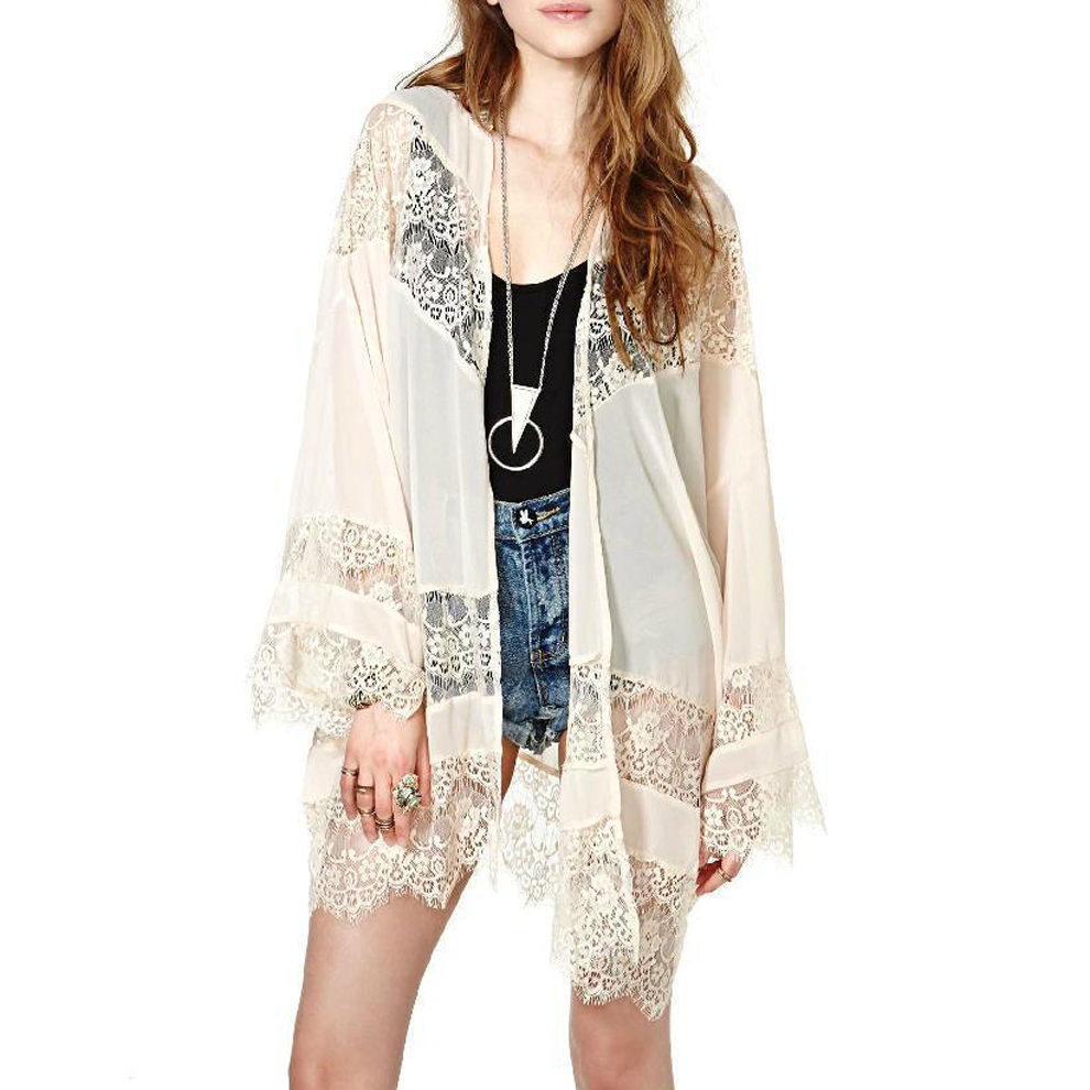 2015 summer women lace crochet chiffon cover ups long for Beach shirt cover up