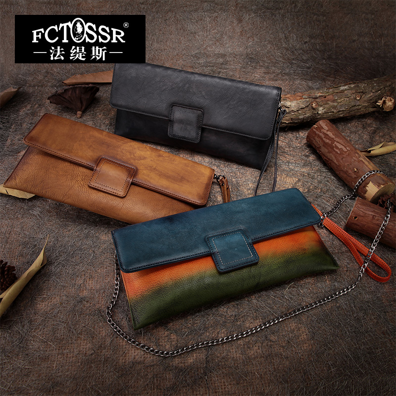 Фотография 2016 Personalized Handmade Cowhide Magnetic Buckle Vintage Casual Wallet Day Clutch 100% Genuine Leather