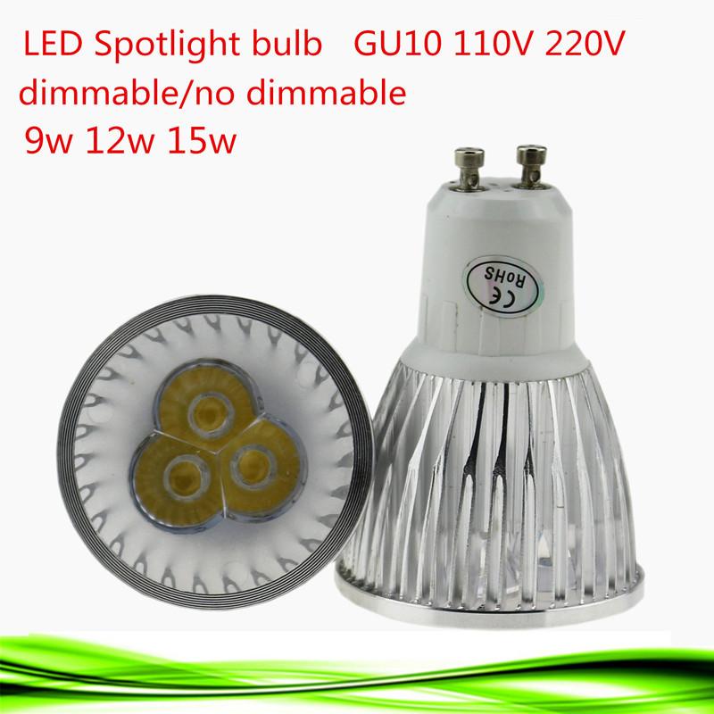 1X Super Bright 9W 12W 15W GU10 LED Bulbs Light 110V 220V Dimmable Led Spotlights Warm/Cool White GU10 base LED downlight(China (Mainland))