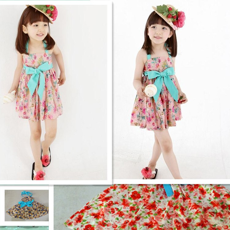 Korean version of the explosion models cotton children's clothing children dress princess dress Floral Dress Kids Tee Dress(China (Mainland))