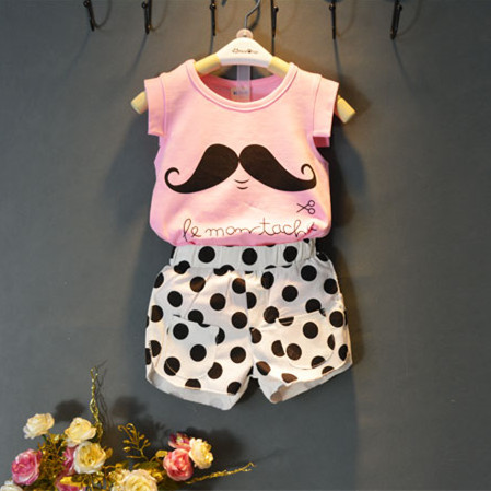 New fashion children and kids clothes set baby girls clothing set suit pink shirt dot pants