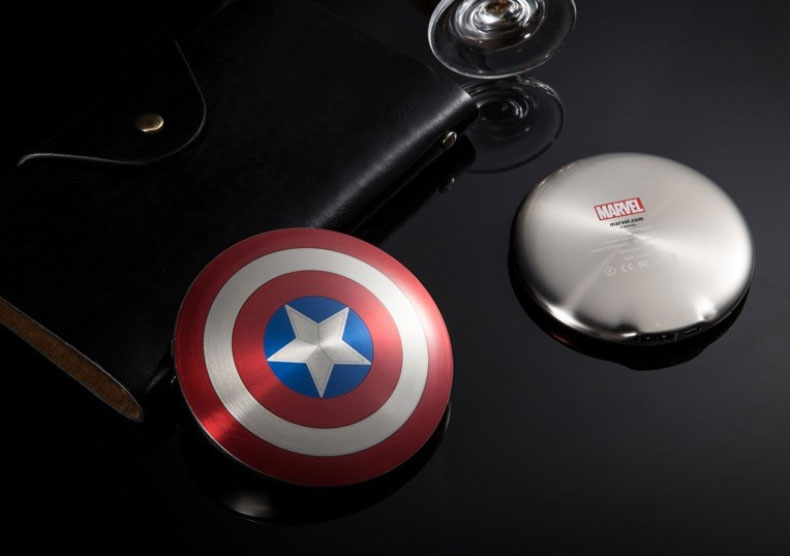 High quality Dual USB Port Avengers Captain America Shield Power Bank 6800mAh Battery Charger for All mobile phone MP3 4