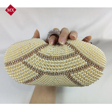 2015 Hot Fashion Handmade Beaded Pearl Evening Bag Clutch Crystal Purse Bag Party Wedding Bag Free Shipping