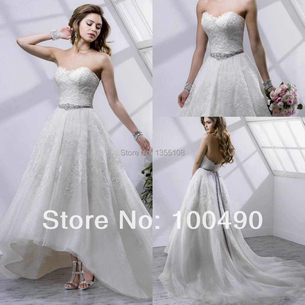 Customed9Short front long train Macie wedding dresses high-low tea-length Venice lace with rhinestone sashes detachable bridal g(China (Mainland))