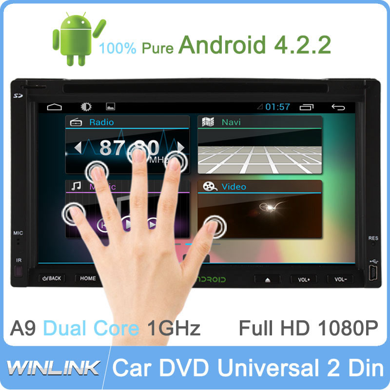 Pure Android 4.4.4 Car DVD GPS PC Navigation Two 2Din Car Stereo Radio Capacitive Screen Universal Player Support TPMS/OBDll(China (Mainland))