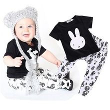 2pcs Toddler Kids Baby Boys Girls Cute rabbit short sleeve cotton T-shirts Tops+Pants Clothes Outfit Sets