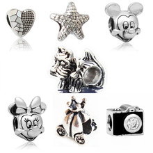 Fashion Perles Jewelry Silver Plated Cute Mickey car Mom Bead Bijoux Beads Fit Diy Pandora Charms Bracelet Wholesale diy Beads