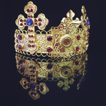 Gold Rhinestones Crown Tiara Headband Bridal Hair Accessories With Earring(China (Mainland))