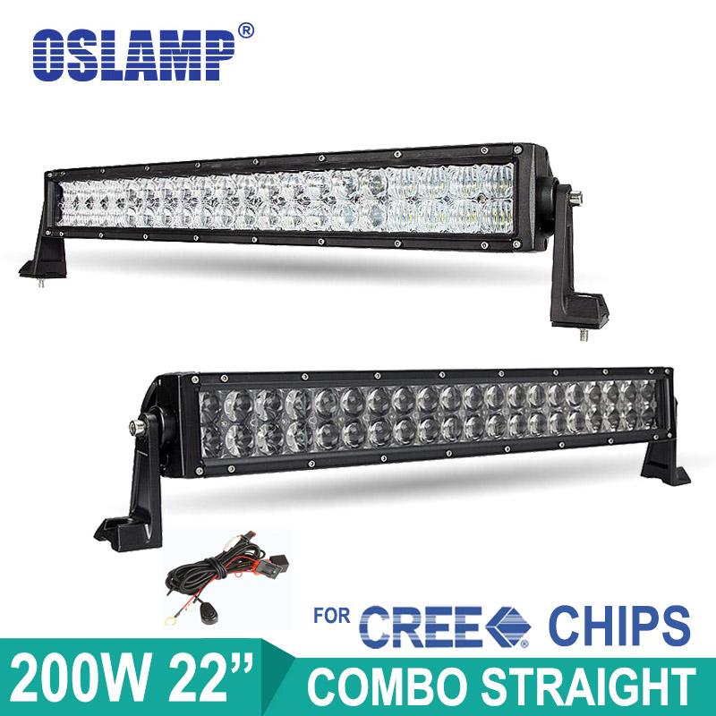 "Oslamp 200W 22"" 4D/5D Straight LED Light Bar Offroad Work Led Bar 12v 24v ATV SUV Truck RV Car 22inch LED Headlight Driving Lamp(China (Mainland))"