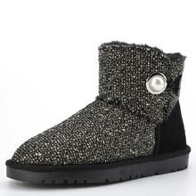 2016 Nuevo Invierno Nieve Botas de Piel de Mujer Zapatos de Moda de Cáñamo Y Cuero Botines antideslizantes de Las Mujeres Botas con el Botón(China (Mainland))