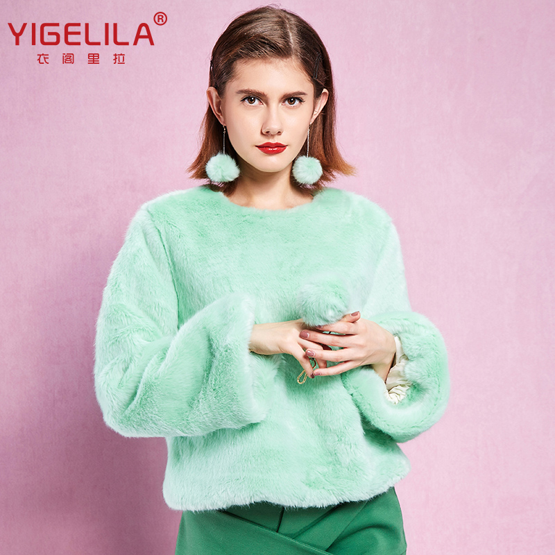 YIGELILA 7300 Latest New Women Fashion Casual Finland Cross Silver Fox Solid Fur BlouseОдежда и ак�е��уары<br><br><br>Aliexpress